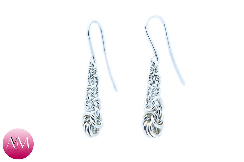 Inverted Graduated Sterling Silver Byzantine Earrings