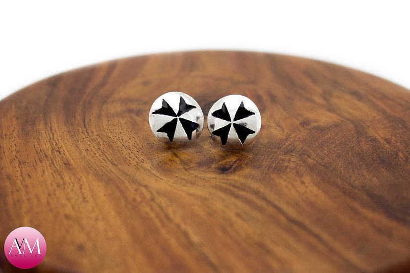 Sterling Silver Maltese Cross Earrings [#01 Black]