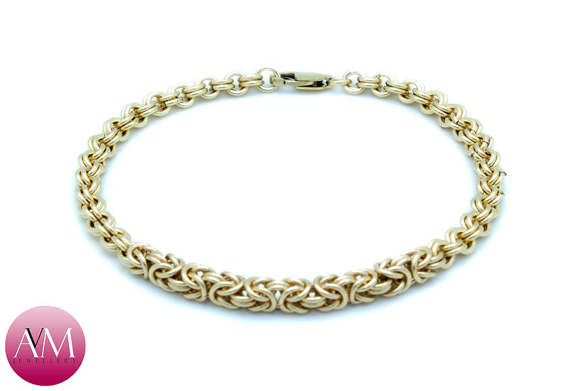 HYBRID - Delicate Yellow Gold Fill Byzantine on a 2in2 Bracelet