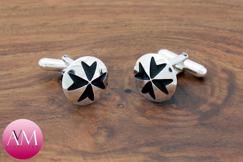 Sterling Silver Maltese Cross Button Cufflinks [Pattern 01Black]