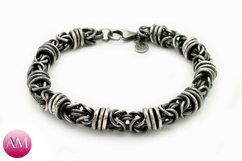 BARBED WIRE -  Extra Heavy Sterling Silver Orbital Byzantine Bracelet