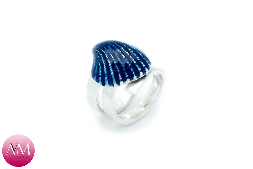 Blue Solid Sterling Silver Ridged Seashell on Spiral Ring [#01]