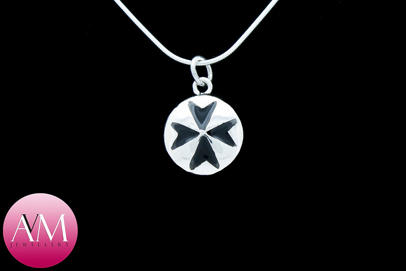 Sterling Silver Maltese Cross Pendant [Pattern 01Black]