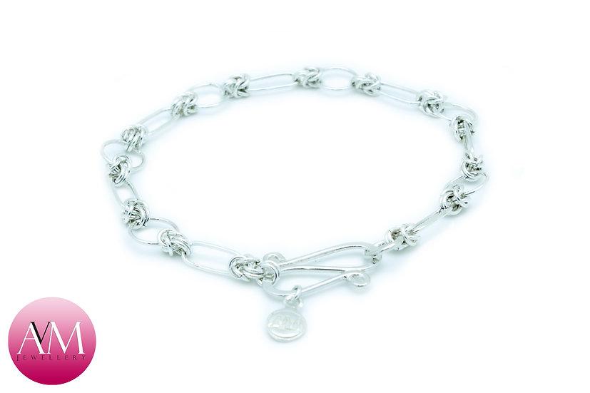 Delicate Sterling Silver Half Byzantine Bracelet