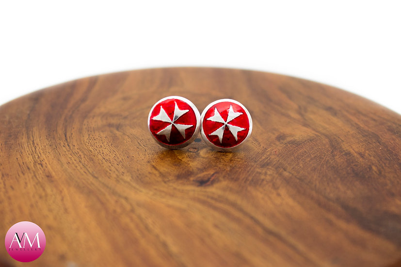 Sterling Silver Maltese Cross Earrings [#02 Red]