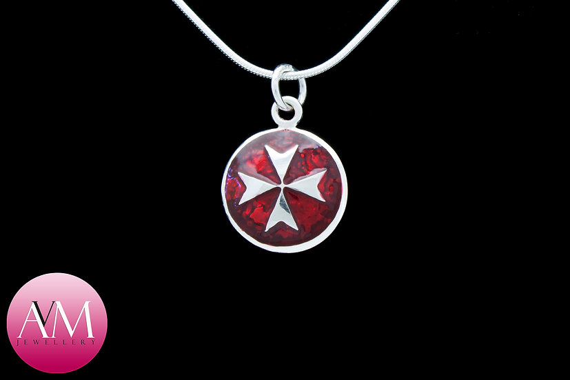 Sterling Silver Maltese Cross Pendant [Pattern 02Red]