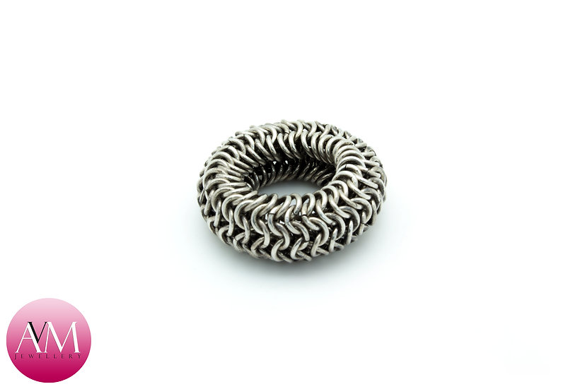 Dark Delicate Sterling Silver 4in1 Chainmaille Ring