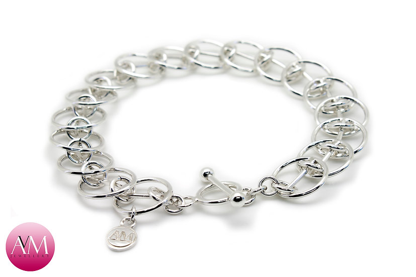 Sterling Silver 1in1 I Bar Chain Bracelet in Round Wire