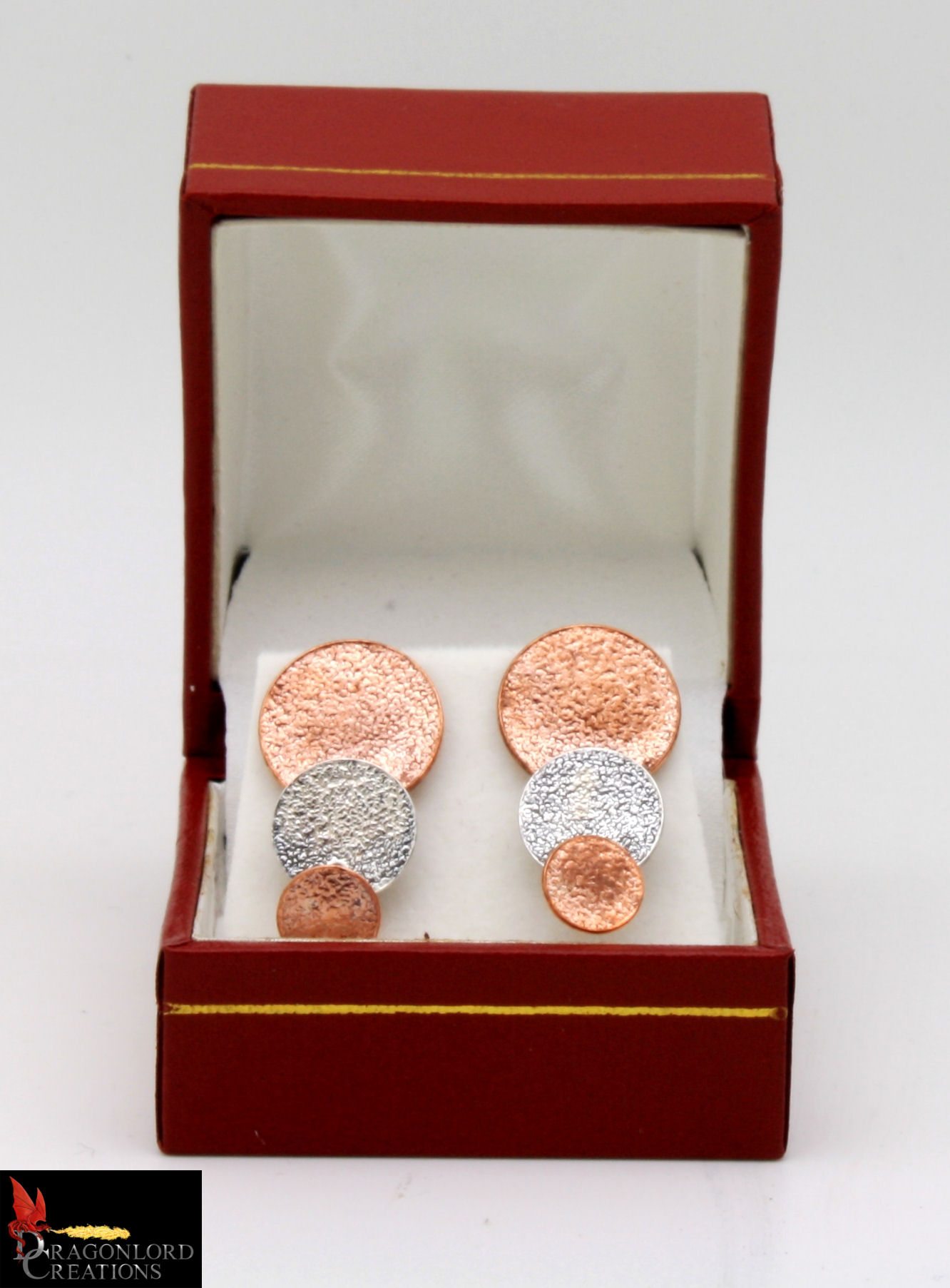 No728 Copper & Silver Round Stud Earring