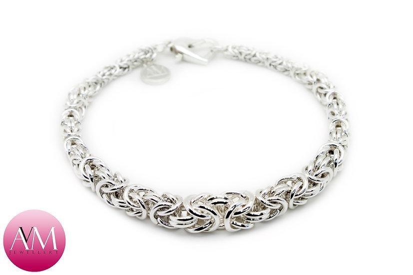COMPASSION - Sterling Silver Graduated Byzantine Bracelet