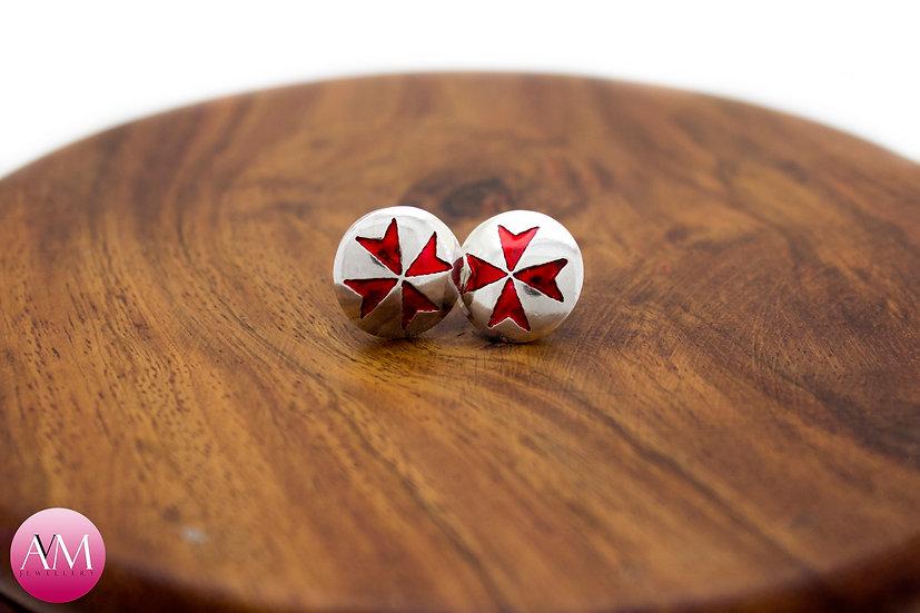 Sterling Silver Maltese Cross Earrings [#01Red]