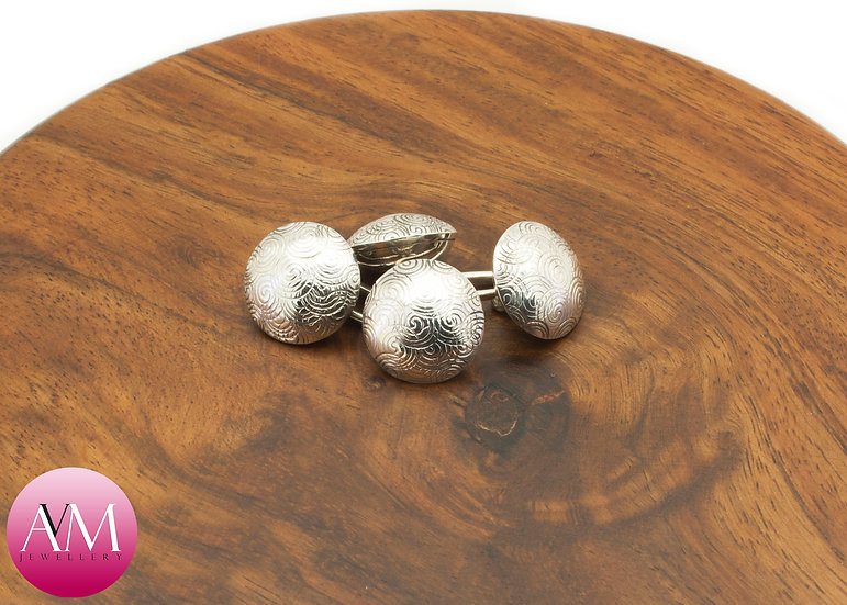 Spiral Embossed Sterling Silver Double Button Cuff Links