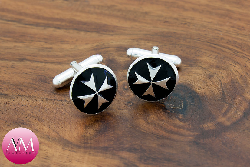 Sterling Silver Maltese Cross Button Cufflinks [Pattern 02Black]