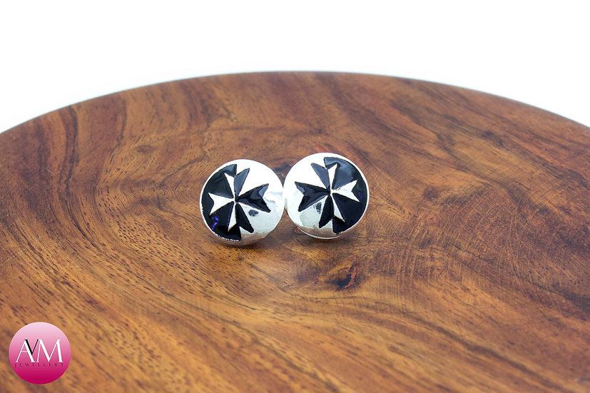Sterling Silver Maltese Cross Earrings [#03 Black]