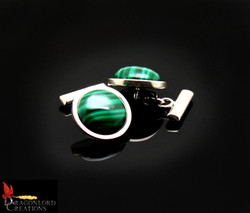 SOLD No887c Malachite Cufflinks