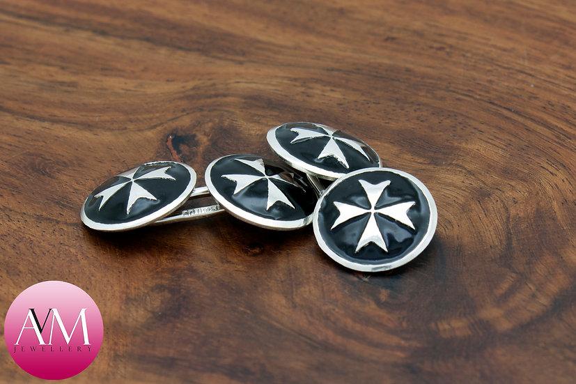 Sterling Silver Maltese Cross Double Cufflinks [Pattern 02Black]