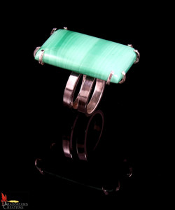 No416 Succour Green Jasper Spiral Ring V
