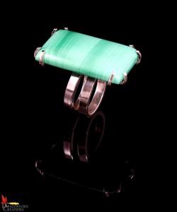 No416 Succour Green Jasper Spiral Ring V
