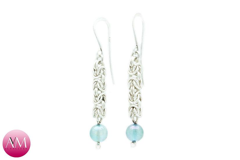 Sterling Silver Byzantine & Aqua Aura Crystal Spheres Earrings [02]