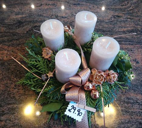 Adventkranz kupfer-natur (kleine marmorierte Kerzen)