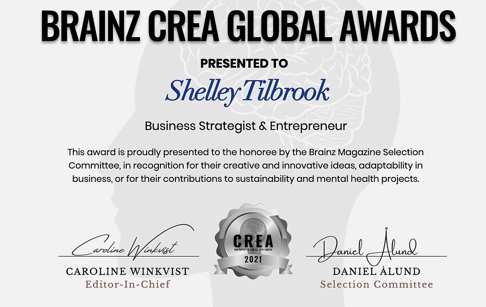 Shelley Tilbrook receives Brainz CREA Global Award
