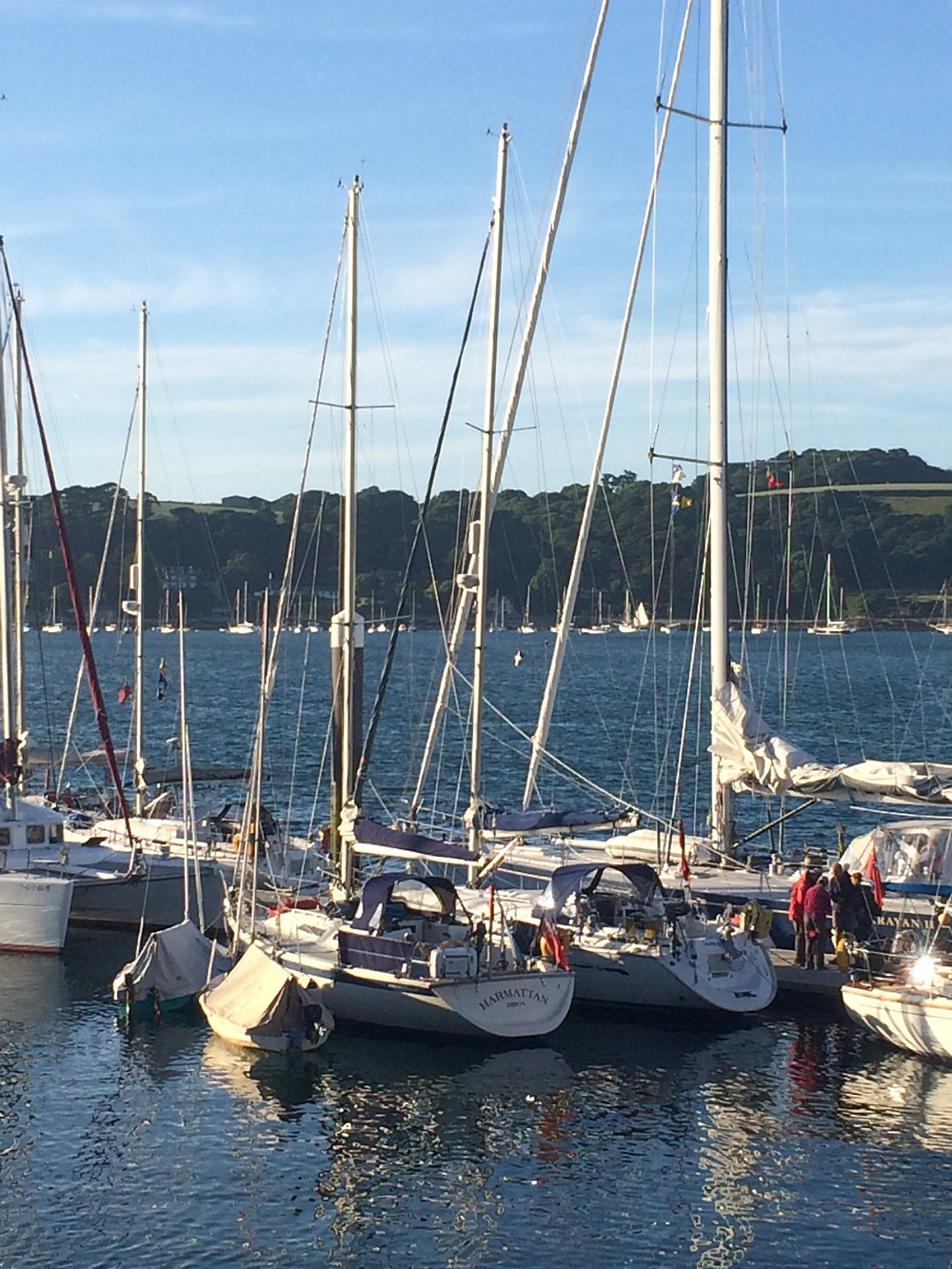 Friends alongside at Port Pendennis Marina. Including two members of the Wayfarer Cruisers.