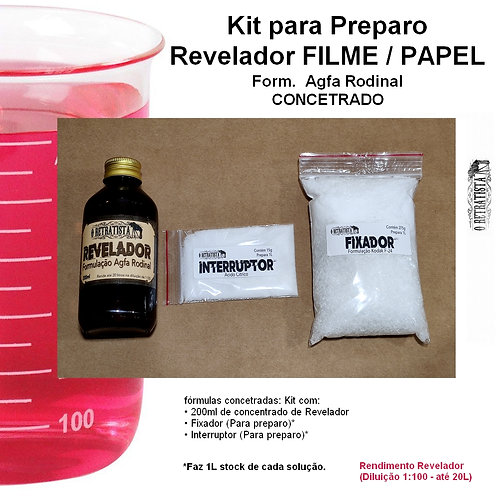 Kit Revelador Rodinal Película e Papel Fotográfico P&B (Para preparo)
