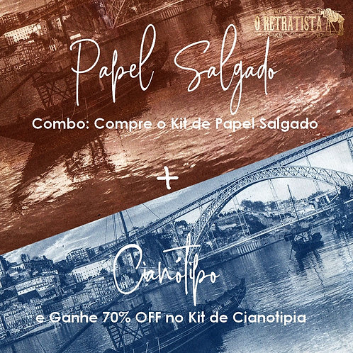 Combo Kit Papel Salgado + Kit 100ml Cianotipia