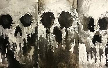Three skull paintings