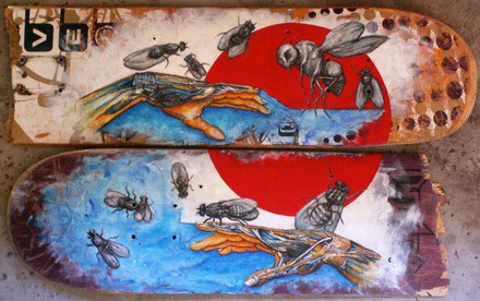 ink & acrylic on broken skateboards