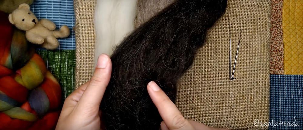 Lã para feltragem marrom natural