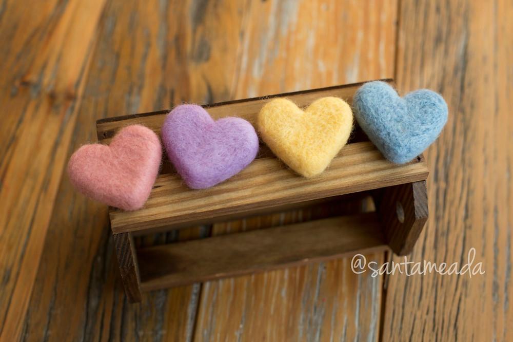 coração feltrado coração de lã feltragem