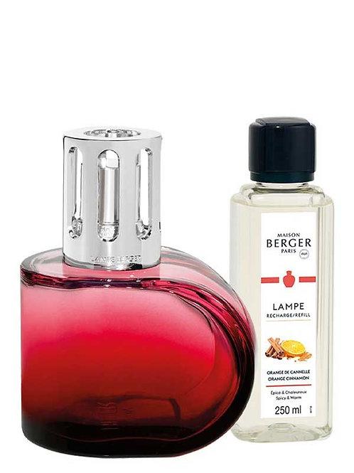 Geschenkset Lampe Berger Alliance Rot & Duft Orangen-Zimt