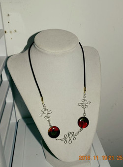 Wire work with red/gold beads