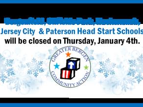 All GBCA Head Start Schools will be closed January 4th