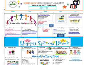 GBCA Bergen County Head Start April 2020 Parent Activity Calendar and Resources At A Glance