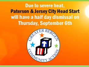 Jersey City and Paterson GBCA Head Start Schools Will Have A Half Day Dismissal TOMORROW