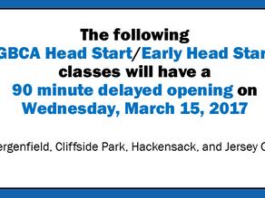Bergen & Jersey City Head Start/Early Head Start  Delayed Openings Tomorrow