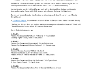 UPDATE: PATERSON MEAL DISTRIBUTION NOTICE MARCH 20, 2020