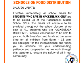 Hackensack Public Schools Food Distribution Notice MARCH 18, 2020