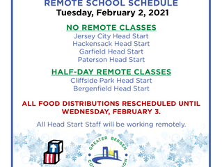 REMOTE HEAD START CLASS SCHEDULE: Tuesday, February 2