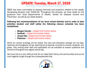 GBCA Head Start Closings - UPDATE: MARCH 17, 2020