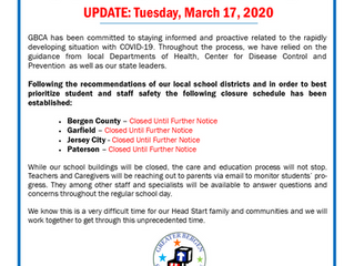 GBCA Head Start Coronavirus Closures - March 17, 2020 UPDATE