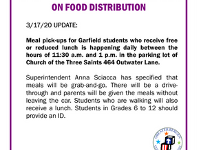 Garfield Public Schools Food Distribution Notice MARCH 18, 2020