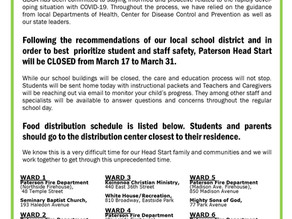 PATERSON HEAD START CLOSING AND MEAL DISTRIBUTION NOTICE