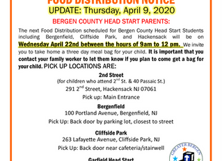 GBCA Bergen County Head Start Food Distribution Notice - April 9, 2020