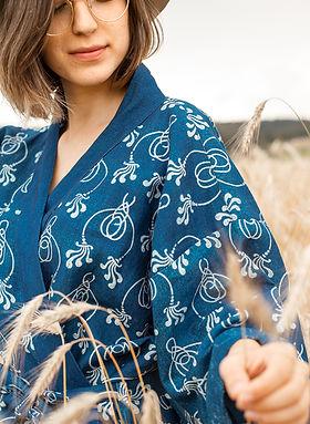 Kimonodress Mara art nouveau Blaudruck W