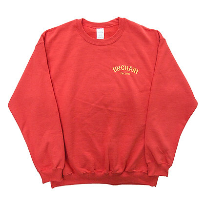 UNCHAIN factory 2018 WOLF logo crewneck sweater   <red>