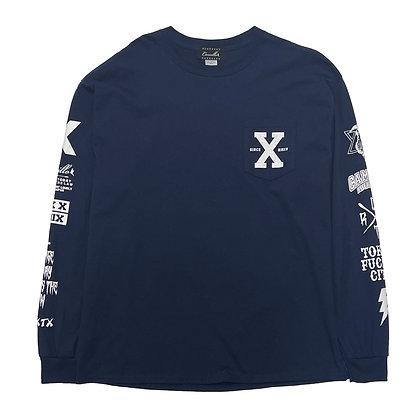"""CAMILLO   """"X""""   L/S TEE  ( NAVY )"""