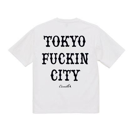 CAMILLO TOKYO FUCKIN CITY BIG SILHOUETTE HEAVY WEIGHT TEE  (WHITE)